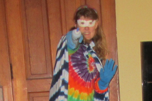 The Sadder But Wiser Girl as Tie-Dye Girl!  Saving the world from dullness, one color at a time.