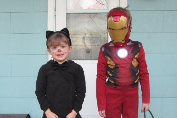 Last year's costumes.  I did buy his because I found one super cheap.  We took the extra step of making it light up.