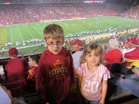 This is from a game we attended last year.  I'm not sure why my children look so scared in this picture...