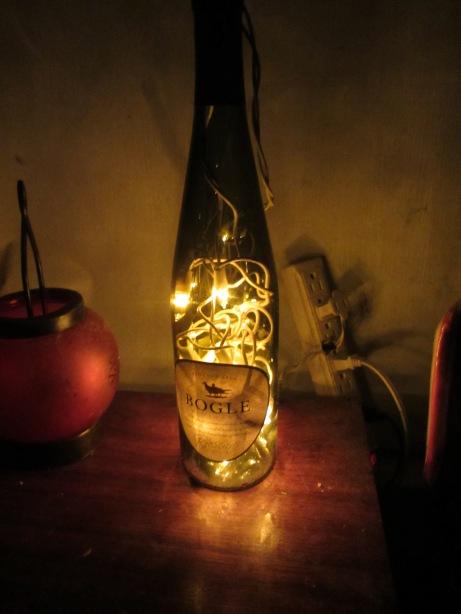 Homemade wine bottle lamp.