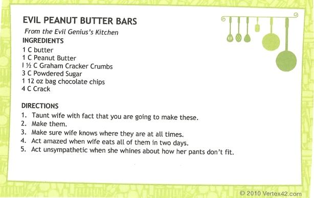 evil peanut butter bars