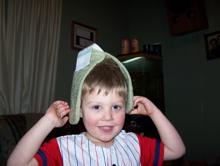 "He has an interesting little sense of humor.  He put this on his head ""I'm a banana!"""