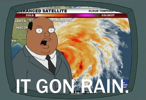 "You can hear this being said in our house any time there's rain the forecast.  That and ""Oh nooooo."""