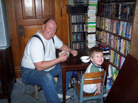 This is one of my favorite pictures of my dad, bonding over Cheerios with my son!
