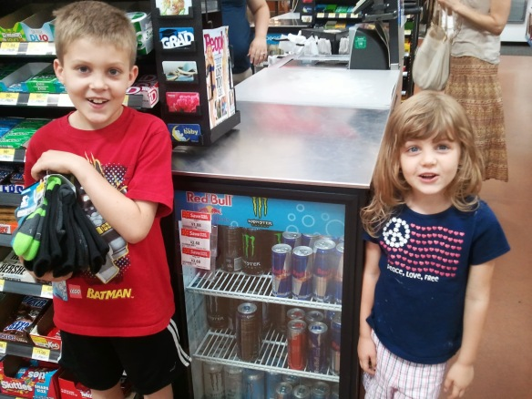 "Just in case you were thinking that YOUR kids were weird, think again.  My kids wanted their picture taken with the ""cute little fridge"" at Wal-Mart.  The Professor brought socks."
