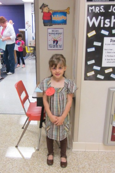At her kindergarten visit.