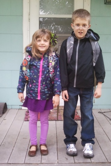 "Both kids on the first ""real"" day of school."