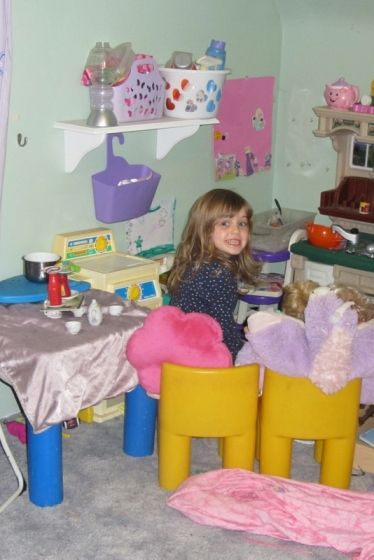 "Ms Imagination:  Turned a corner of her room into a ""living area"" as she calls it.  She and her pillow pets are watching tv, can't you tell?  (She even drew a tv)."