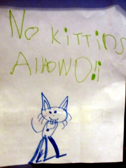 We have this recurring problem with the little kitty turning off the power strip behind the tv.  The Princess tried to put a stop to this madness.  She made signs and put them all over the living room.  I told her kitties can't read.  So she drew a picture as a visual aid.