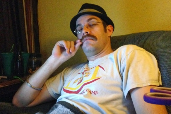Man with stache seeks boy band to join...