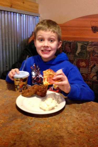 "You know WHY he loves Pizza Ranch so much?  His words: ""You can get pizza AND fried chicken AND mashed potatoes all in the SAME MEAL!"""