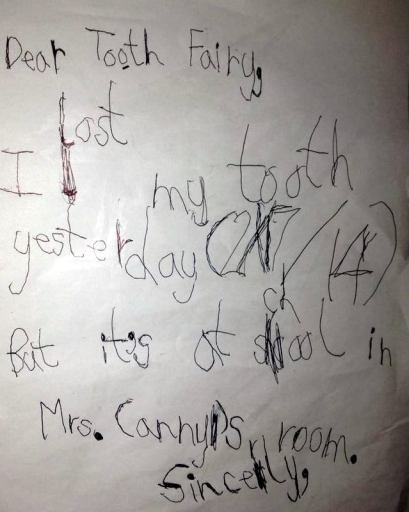 Note to self:  Do NOT let your child take his tooth to school so he can get a tooth chest.