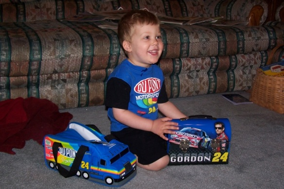 "He decided he was a Jeff Gordon fan at the tender age of two.  I swear his first words were ""Dupont Chevrolet""."