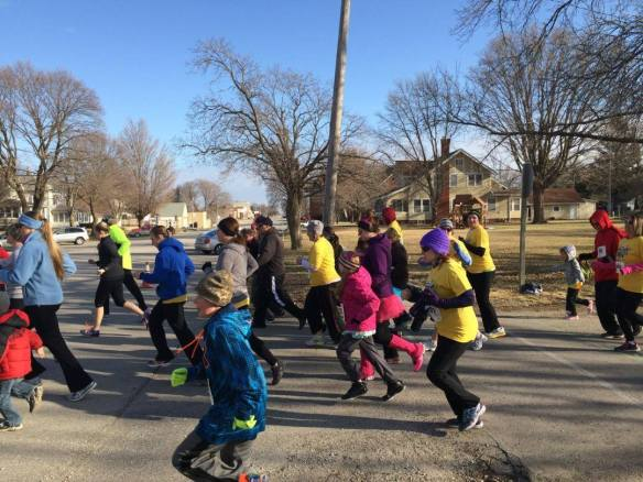 I'm the one in the purple hat.  I'm wearing three shirts and a jacket-it was COLD!  I finished 58th out of 78.  HEY I BEAT SOME PEOPLE!!!!
